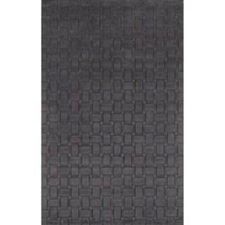 Manhattan Basketweave Charcoal Wool Area Rug (8' x 10')
