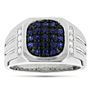 Luxurman 14k White Gold Men's 1ct TDW Diamond and Blue Sapphire Pinky Ring (G-H, VS1-VS2)