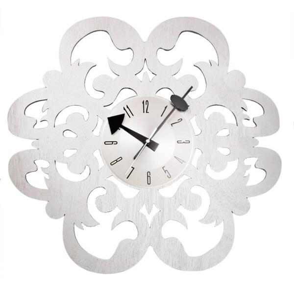 Handmade Vintage Fleur-De-Lis Design Petal Clock in 20 inch Solid Wood