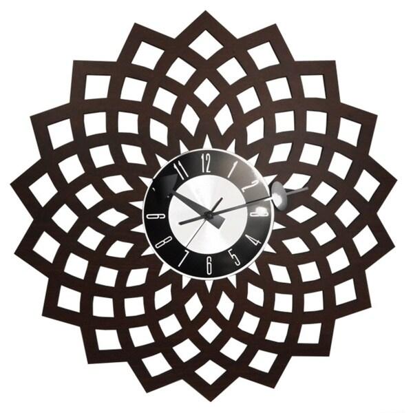 Mid Century Modern Vintage Kaleidoscopic Design Petal Clock in 20 inch Solid Wood