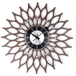 Mid Century Modern Wooden 20-inch Sunflower Clock