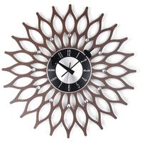 Mid Century Modern Wooden 20-inch Sunflower Clock