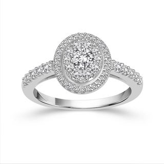 10k White Gold 1ct TDW Diamond Halo Engagement Ring