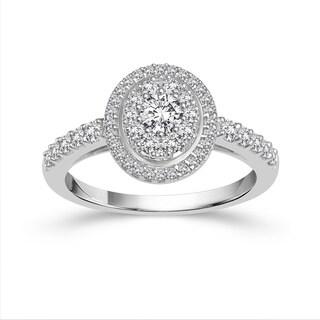 10k White Gold 1ct TDW Diamond Halo Engagement Ring