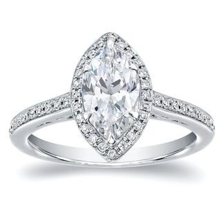 Auriya 14k White Gold 1 1/3ct TDW Marquise Halo Diamond Engagement Ring