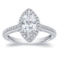 Auriya 14k White Gold 1 1/3ct TDW Marquise Halo Diamond Engagement Ring