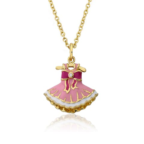 Little Miss Twin Stars 14k Gold Ballet Beauty Tutu Dress Necklace