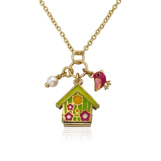 Candyland 14k Goldplated Heavy Link Necklace with Multi Swirl Topped Cupcake and Charm Cluster