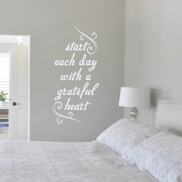 Start Each Day with a Grateful Heart' 17 x 36-inch Wall Decal. Opens flyout.
