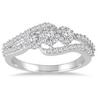Marquee Jewels 1/2 Carat Diamond Three Stone Ring in 10K White Gold