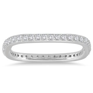 Marquee Jewels 1/2 Carat TW Square Eternity Euro Shank Ring in 14K White Gold (I-J, I2-I3)