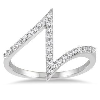 14k White Gold 1/4ct TDW Diamond Heartbeat Zig-zag Ring