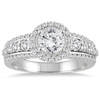Marquee Jewels 1 1/2 Carat White Diamond Halo Engagement Ring with Side Stones in 14K White Gold (I-