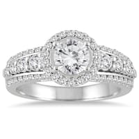 Marquee Jewels 1 1/2 Carat White Diamond Halo Engagement Ring with Side Stones in 14K White Gold