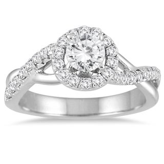 14k White Gold 7/8ct TDW Diamond Halo Twisted Shank Engagement Ring (I-J, I2-I3)