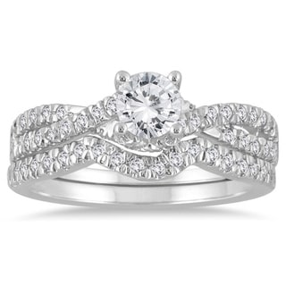 10k White Gold 7/8ct TDW Diamond Bridal Ring Set