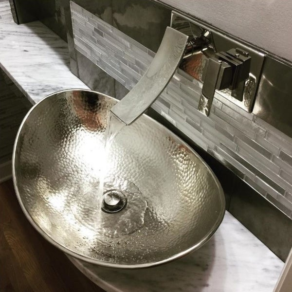 "Sinkology Hobbes 19"" Hand-crafted Hammered Nickel Vessel Sink - Silver"