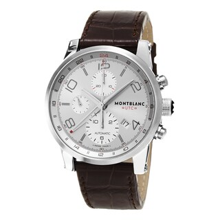 Mont Blanc Men's 107065 'Time walker UTC' Silver Dial Brown Leather Strap Chronograph GMT Swiss Auto