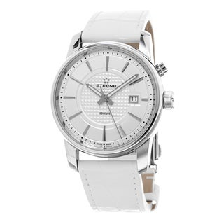 Eterna Men's 8310.41.17.1226 'Soleure' Silver Dial White Leather Strap Swiss Automatic Watch