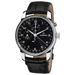 Eterna Men's 8340.41.44.1175 'Soleure' Black Dial Black Leather Strap Moon phase Date Day Swiss Automatic Watch