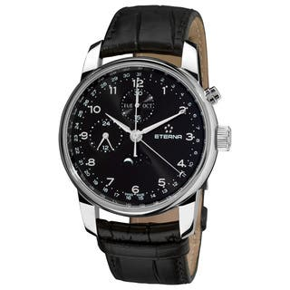 Eterna Men's 8340.41.44.1175 'Soleure' Black Dial Black Leather Strap Moon phase Date Day Swiss Auto|https://ak1.ostkcdn.com/images/products/10670728/P17735334.jpg?impolicy=medium