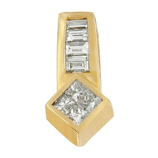 14k Yellow Gold 3/4ct TDW Princess and Baguette-cut Diamond Simple Geo Pendant (G-H, SI1-SI2)