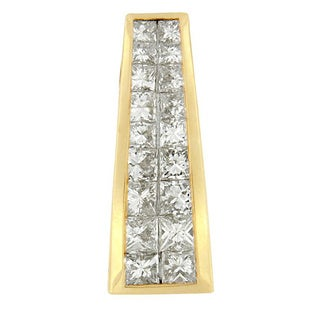 14k Yellow Gold 1 1/2ct TDW Princess-cut Diamond Greek Column Pendant (G-H, SI1-SI2)