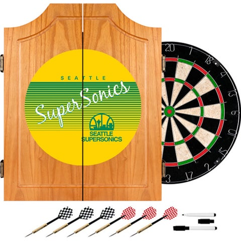 Seattle Super Sonics Hardwood Classics NBA Wood Dart Cabinet