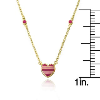 I Love My Jewels 14k Goldplated Hot Pink Key with Pink and White Center Heart Necklace