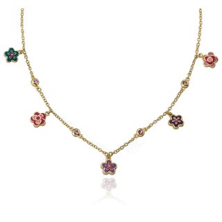 I Love My Jewels 14k Goldplated Polka-dot Hot Pink Heart with Circles Necklace