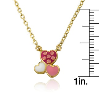 14k Goldplated Frosted Flowers Pink Petals and Dots Necklace