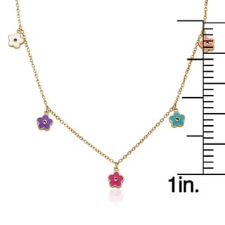 14k Goldplated Multicolor Frosted Flowers and Crystal Charm Necklace