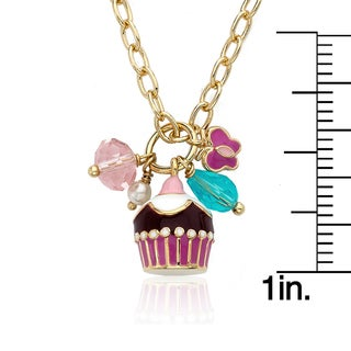 Frosted Flowers 14k Goldplated Small Pink Flowers Necklace with Hot Pink Dangle Flower