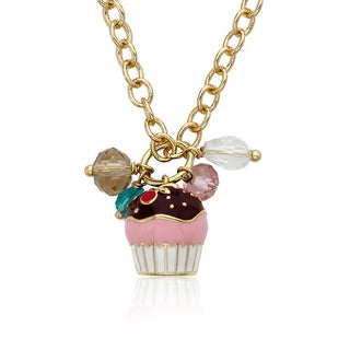 14k Goldplated Chocolate Topped Cupcake Necklace