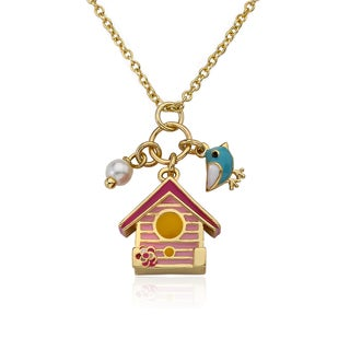 Little Miss Twin Stars Birdhouse Girls Necklace with Blue Bird and Pearl