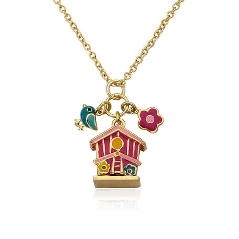 Faye by LMTS 14K Gold Plated Hot Pink Enamel Birdhouse Accented With Enamel Bird & Flower Cluster Charm Necklace