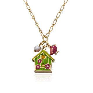 LMTS Faye 14k Goldplated Lime Birdhouse with Bird and Flower Cluster 15-inch Necklace