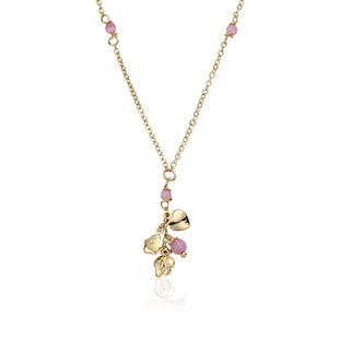 LMTS Ballet Beauty 14k Goldplated Hot Pink Bow Tipped Ballet Shoe 14-inch Necklace