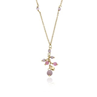 LMTS 14k Goldplated Ballet Beauty Hot Pink Flower Cluster 14-inch Necklace