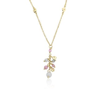 14k Goldplated Dangling Flowers and Lavender Cat Eye 14-inch Necklace