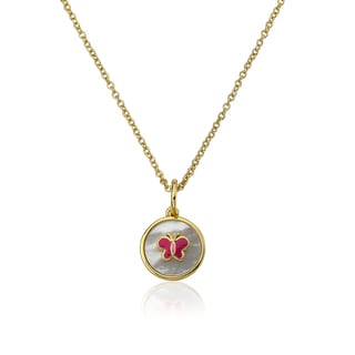 14k Goldplated Dangling Hearts and Pink Cat Eye 14-inhc Necklace