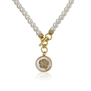 Flower Girl 14k Goldplated Mother-of-pearl Coin with Cubic Zirconia Heart Necklace