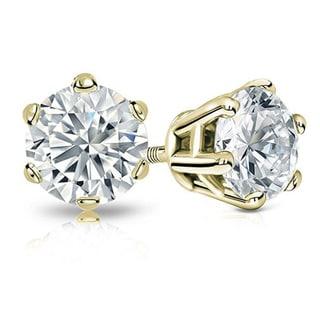 14k Gold 2ct TDW Certified Round Diamond Stud Earrings (H-I, I2)