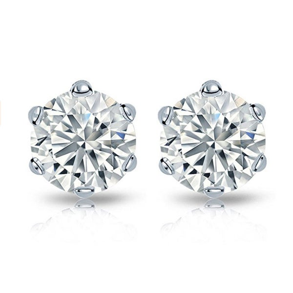 14k Gold 2ct TDW Round Diamond 6-prong Certified Stud Earrings (H-I, I2)
