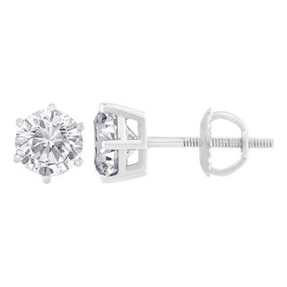 14k White Gold 2ct TDW Round Diamond 6-prong Certified Stud Earrings (H-I, I2)