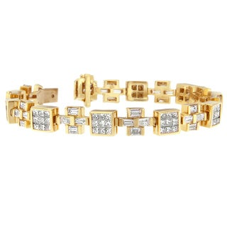 14K Yellow Gold 8 1/3ct. TDW Princess and Baguette Cut Diamond Cubes and Crosses Bracelet (G-H,VS1-VS2)