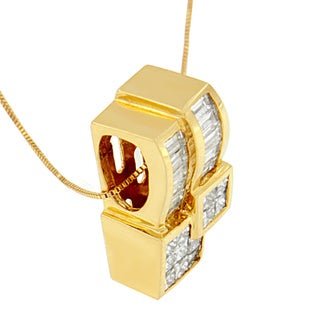 14k Gold 1 1/2ct TDW Princess and Baguette-cut Diamond Geometric Pendant (G-H, SI1-SI2)