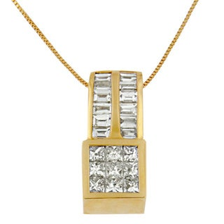14k Yellow Gold 1 1/4ct TDW Princess and Baguette-cut Geometric Inspired Diamond Pendant (G-H, SI1-SI2)