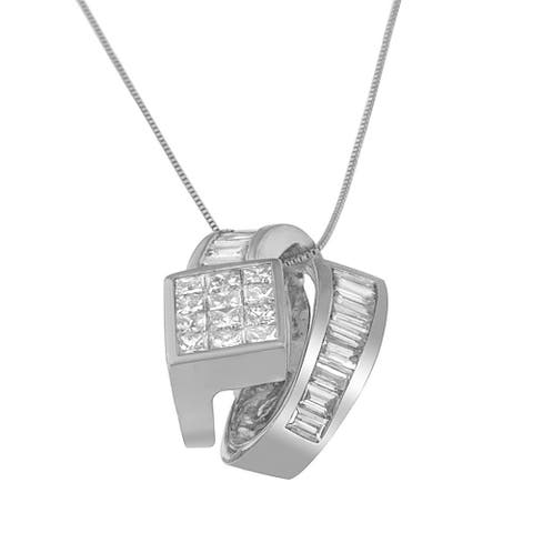 14k White Gold 2ct TDW Princess and Baguette-cut Diamond Double Loop Pendant Necklace (G-H,VS1-VS2)