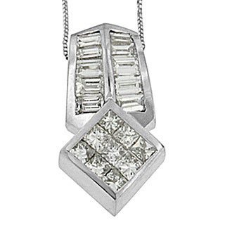 14k White Gold 1 1/2ct TDW Princess and Baguette-cut Diamond Multi-shape Pendant (G-H, SI1-SI2)